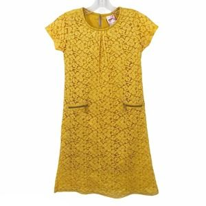 Max Girls Lace Dress A Line Short Sleeve Yellow